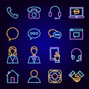 Neem contact met ons op neon pictogrammen. vectorillustratie van zakelijke promotie.