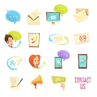 Neem contact met ons op retro cartoon icons set