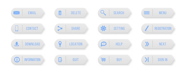 Neem contact met ons op via gekleurde rechthoekige web buttons. ontwerpelementen voor website of app.