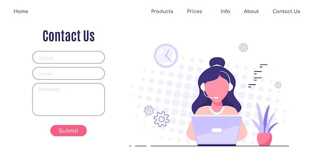Neem contact met ons op webpagina-ontwerpsjabloon in vlakke stijl