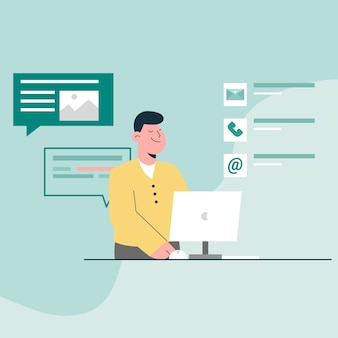 Neem contact op met ons concept. man klantenservice met contact-e-mail, telefoon en bericht met computer