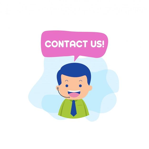 Neem contact op met ons karakter vector