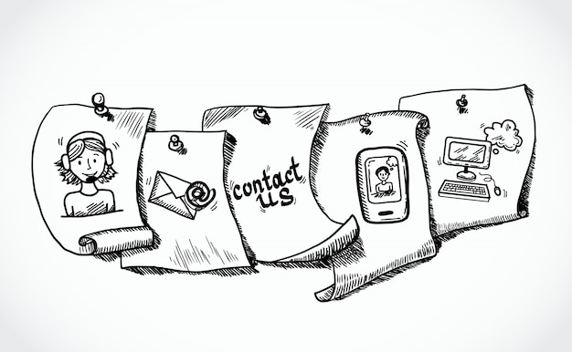 Neem contact op met ons pictogrammen papieren tags schets