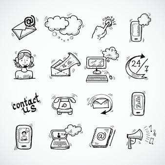 Neem contact op met ons pictogrammen schets