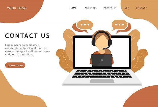 Neem contact op. ondersteunende dienst. bestemmingspagina. moderne webpagina's voor websites.