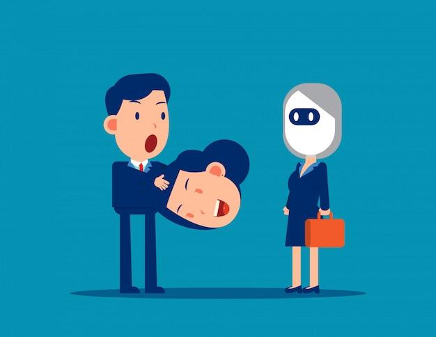 Neem het hoofd van een collega af en verander in een robot