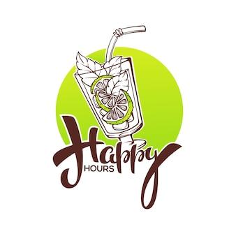 Neem je zomerse drankje mee en geniet van ons happy hour! commerciële achtergrond met hand getrokken mojitoglas en belettering compositie