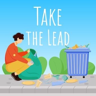 Neem leiding sociale media-post. zorg voor het milieu