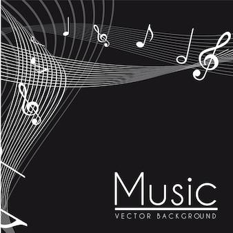 Neemt nota van muzikale zwart-witte vectorillustratie