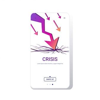 Neerwaartse grafiek economische pijl vallen financiële crisis faillissement investeringsrisico bedrijfsfalen
