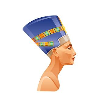 Nefertiti of cleopatra in kroon. egyptische koningin pictogram. oud kunstportret uit egypte.