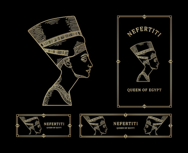 Nefertiti queen of egypt line art goudkleur met gouden kaderset