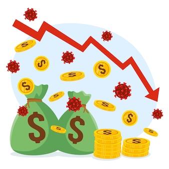 Negatieve economie impact wereldwijd concept