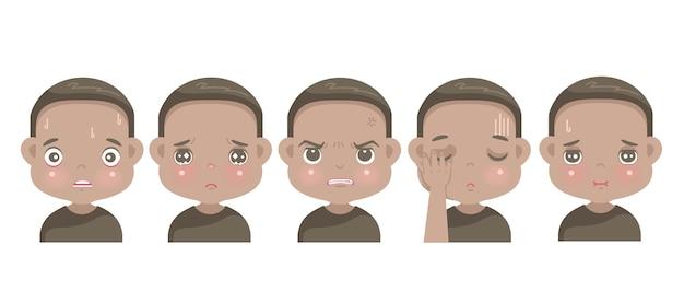 Negatieve emoties set van afrikaanse kleine jongen gezicht. kind dat haat, angst, spijt, woede, schaamte, verdriet en schuld uitdrukt.