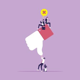 Negatieve feedback en reactie of haatspraak concept van klanttevredenheid en in tegenstelling tot