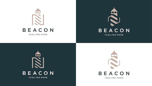 Negatieve ruimte letter n met vuurtoren logo ontwerpsjabloon