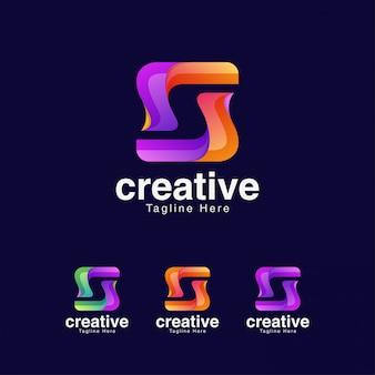 Negatieve ruimte letter s logo ontwerpsjabloon