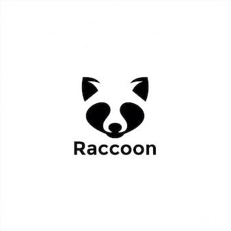 Negatieve ruimte wasbeer logo-ontwerp