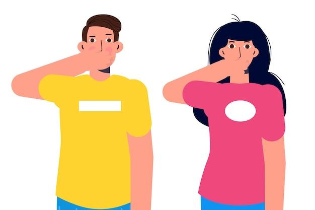 Negeer of vermijd concept met karakters. spreek geen kwaad. vector illustratie.