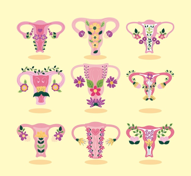 Negen baarmoeder met bloemen