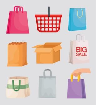Negen boodschappentassen ingesteld