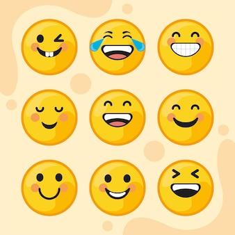 Negen emoticons lachend