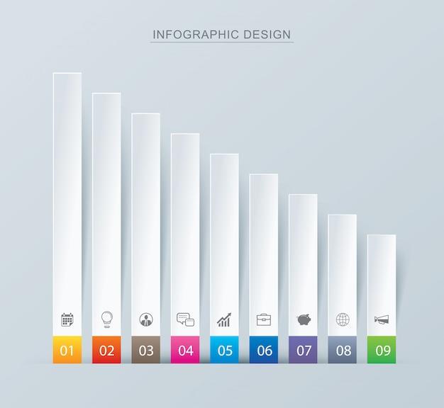 Negen grafiekgegevens infographics tab papier index sjabloon.