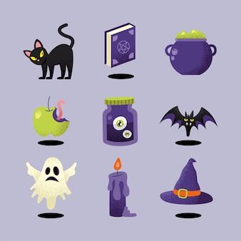 Negen halloween-vieringspictogrammen