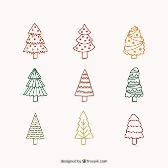 Negen hand getrokken kerstbomen