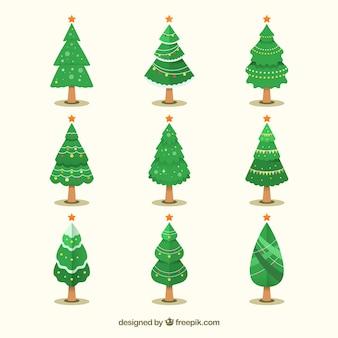 Negen kerstbomen in verschillende vormen