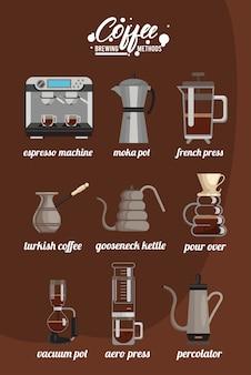 Negen koffiezetmethoden bundelen set pictogrammen