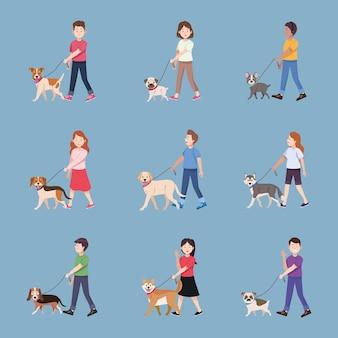 Negen personen met honden