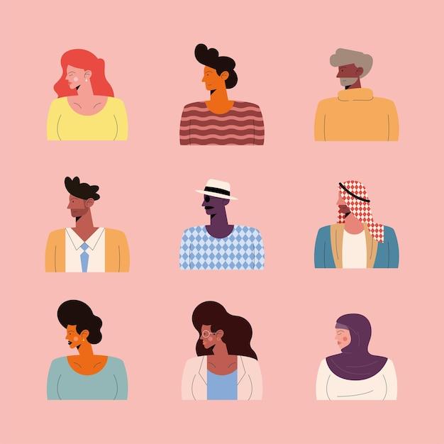 Negen personen van verschillende rassen karakters