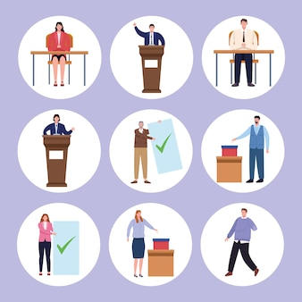 Negen personen verkiezingsdag