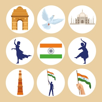 Negen pictogrammen voor onafhankelijkheid in india