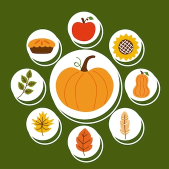 Negen pictogrammen voor thanksgiving-vieringen