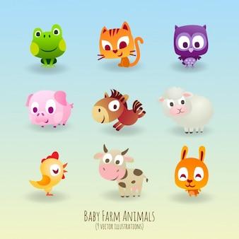 Negen schattige dieren