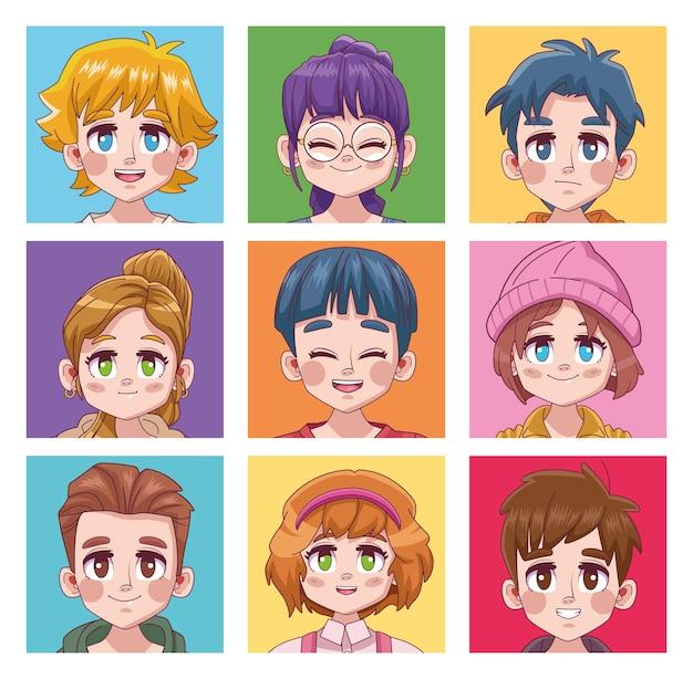 Negen schattige jongeren tieners manga anime karakters illustratie