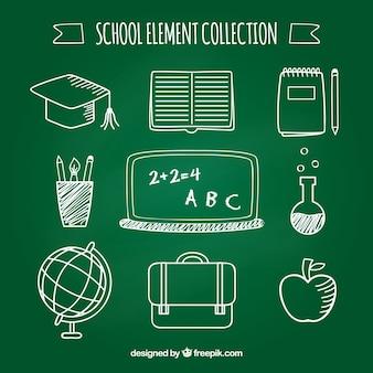 Negen schoolelementen in schoolbordstijl