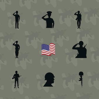 Negen veteranen dag silhouetten