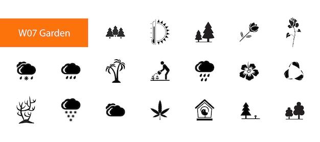 Negentien inzameling van tuin vlakke pictogrammen op witte achtergrond.
