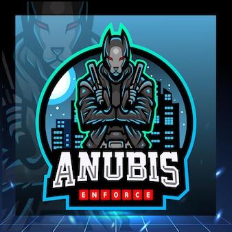 Neo anubis mascotte esport logo ontwerp