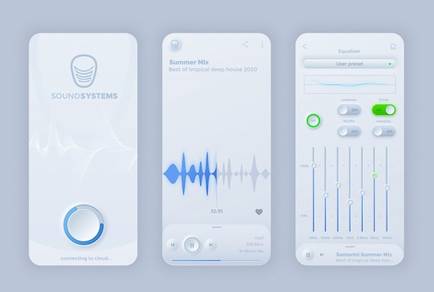 Neomorphoism interface muziekspeler ui app