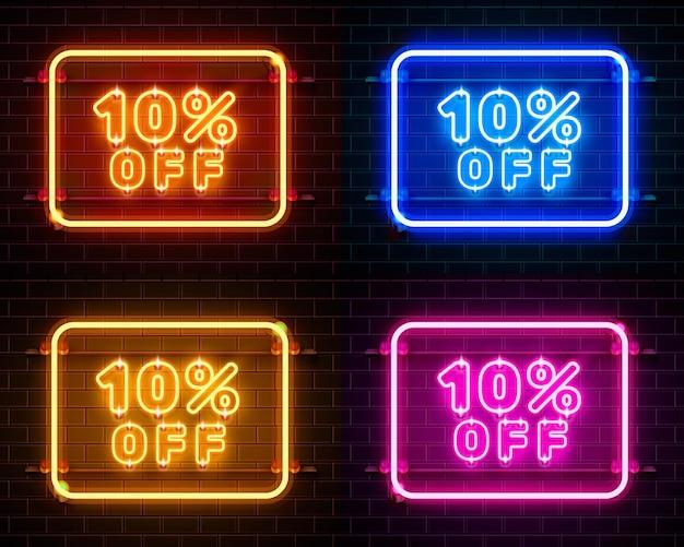 Neon 10 korting op tekstbanner kleurenset. nacht teken. vector illustratie