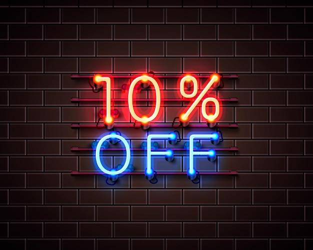 Neon 10 korting op tekstbanner. nacht teken. vector illustratie