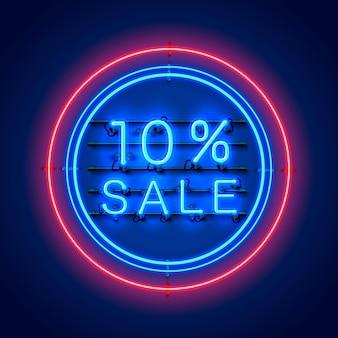 Neon 10 verkoop tekstbanner. nacht teken. vector illustratie