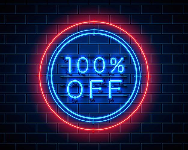 Neon 100 korting op tekstbanner. nacht teken. vector illustratie