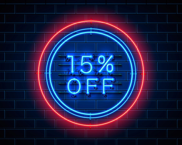 Neon 15 korting op tekstbanner. nacht teken. vector illustratie