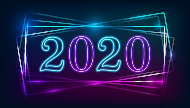 Neon 2020-symbool brandt op het neon
