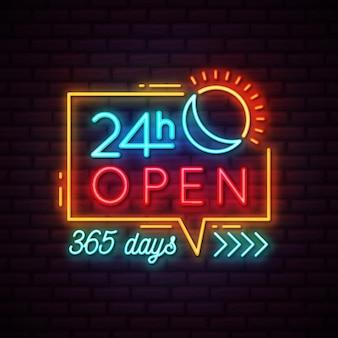 Neon '24 uur per dag geopend' bord